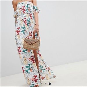 Bardot side split floral maxi dress